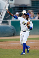 Bladimir Franco #10 of the Rancho Cucamonga Quakes during a game against the Stockton Ports at LoanMart Field on June 13, 2013 in Rancho Cucamonga, California. Stockton defeated Rancho Cucamonga, 8-4. (Larry Goren/Four Seam Images)
