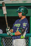 29 June 2014:  Vermont Lake Monsters infielder Joe Bennie on deck against the Lowell Spinners at Centennial Field in Burlington, Vermont. The Lake Monsters fell to the Spinners 7-5 in NY Penn League action. Mandatory Credit: Ed Wolfstein Photo *** RAW Image File Available ****