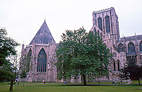 York: York Minster, North Transept and Chapter House. Note the huge Cathedral Close. Photo '87.