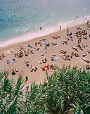 CROATIA, Dubrovnik, Dalmatian Coast, Island, elevated view of people relaxing on East West Beach in Dubrovnik.