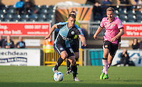 Matthew Bloomfield of Wycombe Wanderers looks for options during the Sky Bet League 2 match between Wycombe Wanderers and Northampton Town at Adams Park, High Wycombe, England on 3 October 2015. Photo by Andy Rowland.