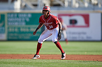 Altoona Curve third baseman Ke'Bryan Hayes (10) leads off first base during a game against the Richmond Flying Squirrels on May 15, 2018 at Peoples Natural Gas Field in Altoona, Pennsylvania.  Altoona defeated Richmond 5-1.  (Mike Janes/Four Seam Images)