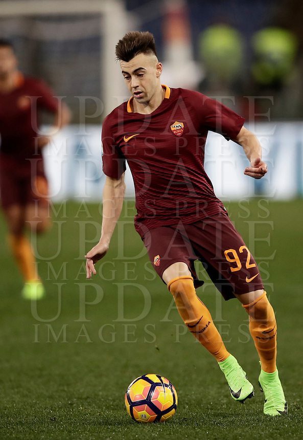 Calcio, Serie A: Roma, Stadio Olimpico, 7 febbraio 2017.<br /> Roma's Stephan El Shaarawy in action during the Italian Serie A football match between AS Roma and Fiorentina at Roma's Olympic Stadium, on February 7, 2017.<br /> UPDATE IMAGES PRESS/Isabella Bonotto