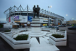 An exterior view of the statue to former managers Brian Clough and Peter Taylor outside the ground before Derby County played Stoke City in an EFL Championship match at Pride Park Stadium. Opened in 1997, it is the 16th-largest football ground in England and the 20th-largest stadium in the United Kingdom. The fixture ended in a 0-0 draw watched by a crowd of 25,685.