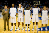 North Carolinas Tyler Hansbrough stands with his team during the NCAA Basketball Men's East Regional at Time Warner Cable Arena in Charlotte, NC.