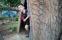 NWA Democrat-Gazette/DAVID GOTTSCHALK Roman Gomez, a third grade student from Bernice Young Elementary School, participates in a scavenger hunt Thursday, October 4, 2018, during Butterfly Days 2018 at the Botanical Garden of the Ozarks in Fayetteville. First through third grade students participated in the four day event that corresponded with science and biology curriculum at the school and featured  seven education stations about butterflies.