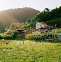 Farm buildings in the rural countryside in Valdredo, Asturias, Spain