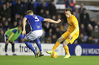 Preston North End's Brandon Barker in action with Birmingham City's Kristian Pedersen <br /> <br /> Photographer Mick Walker/CameraSport<br /> <br /> The EFL Sky Bet Championship - Birmingham City v Preston North End - Saturday 1st December 2018 - St Andrew's - Birmingham<br /> <br /> World Copyright © 2018 CameraSport. All rights reserved. 43 Linden Ave. Countesthorpe. Leicester. England. LE8 5PG - Tel: +44 (0) 116 277 4147 - admin@camerasport.com - www.camerasport.com