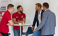 Picture by Paul Currie/SWpix.com - 04/09/2017 - Rugby League - Prince Harry Visits the Rugby  League - Manchester City Football Academy, Manchester, England - Prince Harry talks to George Williams of Wigan Warriors, Luke Gale of Castleford Tigers