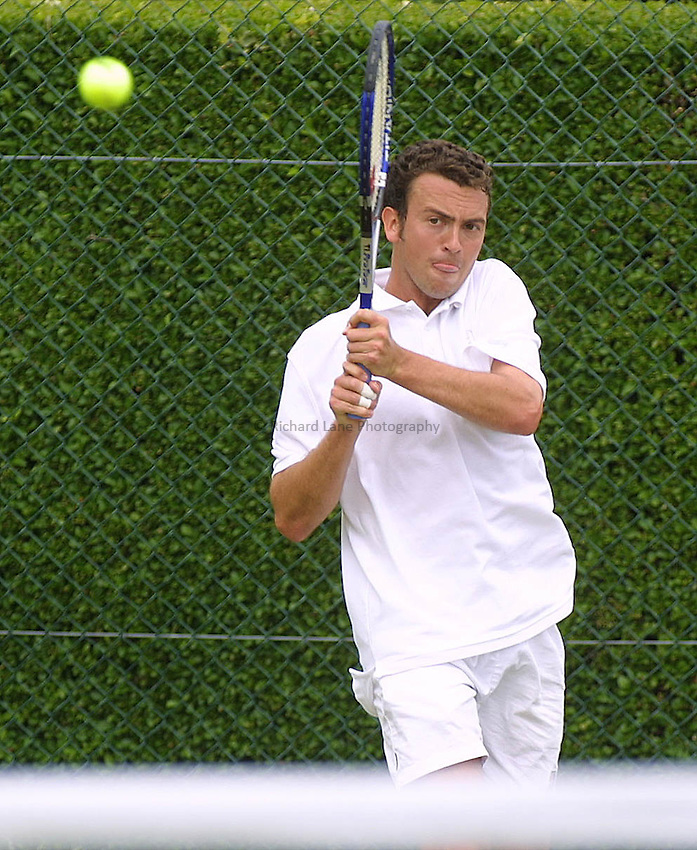 Picture : Jason Green.ROEHAMPTON TENNIS.WIMBLEDON QUALIFING.Luke Milligan.20-06-01.