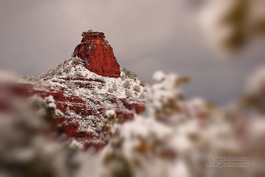 Chimney Rock after Winter Storm, near Sedona, Arizona.  Available in sizes up to 30 x 45 inches.
