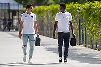 San Jose, CA - Tuesday June 11, 2019: Cade Cowell #44 and Jacob Akanyirige #29 enter the stadium before the US Open Cup match between the San Jose Earthquakes and Sacramento Republic FC at Avaya Stadium.