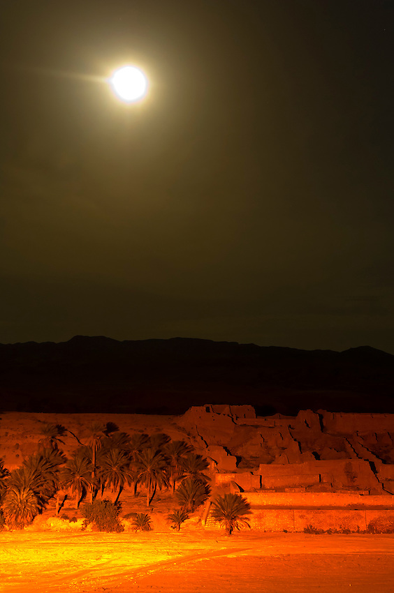 Night view of ruins of a village in the Sahara Desert at Ksar Tamerza, Tunisia