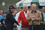 AUGUSTA, GA - APRIL 11: Gary Player shakes hands with Arnold Palmer  during the First Round of the 2013 Masters Golf Tournament at Augusta National Golf Club on April 10in Augusta, Georgia. (Photo by Donald Miralle) *** Local Caption ***
