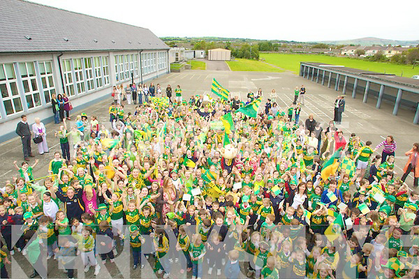 CUP; Pupils from Scoil Eoin,Balloonagh, Tralee were over the moon as Kieran Donaghy and Michea?l Quirk arrived with the Sam Maguire Cup to their School on Tuesday...