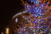 General view of Stamford Bridge Stadium, home of Chelsea Football Club, with a Christmas tree in shot, ahead of the UEFA Champions League group match between Chelsea and FC Porto at Stamford Bridge, London, England on 9 December 2015. Photo by David Horn / PRiME