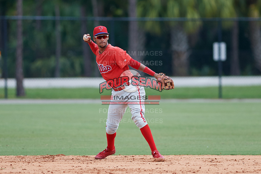 GCL Phillies shortstop Jonathan Guzman (80) throws to first base during a game against the GCL Tigers East on July 25, 2017 at TigerTown in Lakeland, Florida.  GCL Phillies defeated the GCL Tigers East 4-1.  (Mike Janes/Four Seam Images)