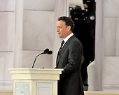 "Washington, DC - January 18, 2009 -- Tom Hanks reads a historical passage at the ""Today: We are One - The Obama Inaugural Celebration at the Lincoln Memorial"" in Washington, D.C. on Sunday, January 18, 2009..Credit: Ron Sachs / CNP.(RESTRICTION: NO New York or New Jersey Newspapers or newspapers within a 75 mile radius of New York City)"