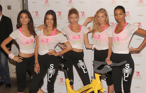 New York,NY- July 9: Victoria's Secret models Lily Aldridge, Alessandra Ambrosio, Martha Hunt, Elsa Hos, Lais Ribeiro,  attend Victoria's Secret Angel Supermodel Cycle For Pelotonia in New York City on July 9,2014. Credit: John Palmer/MediaPunch