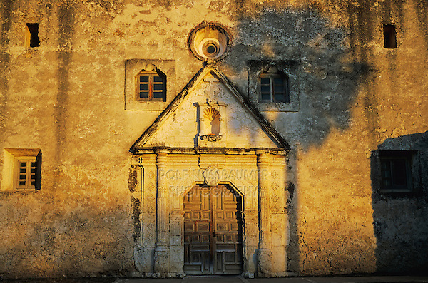 Mission Concepción with palm tree shadow, San Antonio Missions National Historic Park, San Antonio,Texas, USA