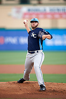 Charlotte Stone Crabs starting pitcher Brandon Lawson (34) delivers a pitch during a game against the Palm Beach Cardinals on July 22, 2017 at Roger Dean Stadium in Palm Beach, Florida.  Charlotte defeated Palm Beach 5-2.  (Mike Janes/Four Seam Images)