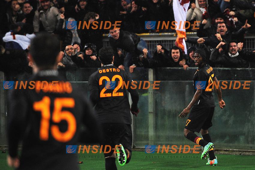 Esultanza gol Gervinho Roma 3-2 Goal celebration <br /> Roma 05-02-2014 Stadio Olimpico - Football Calcio Coppa Italia 2013/2014 AS Roma - Napoli Foto Andrea Staccioli / Insidefoto