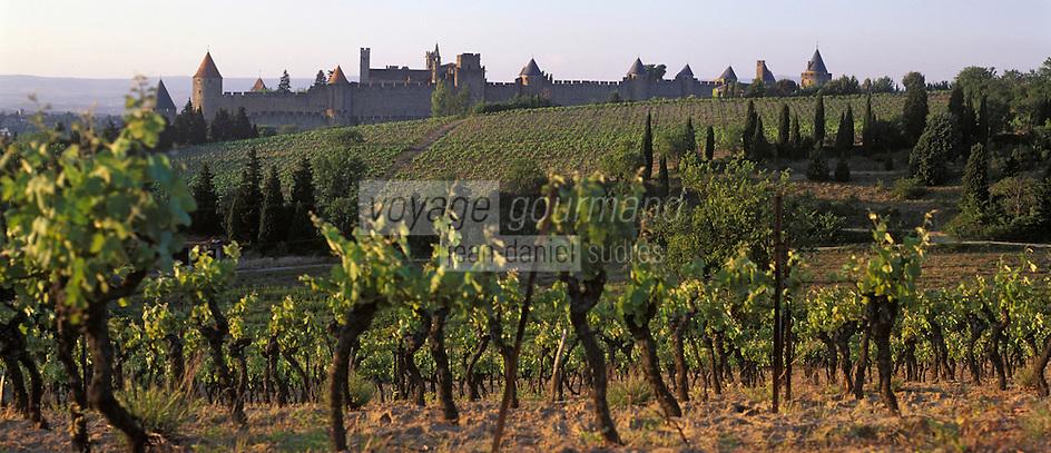 Europe/France/Languedoc-Rousillon/Aude/Carcassonne: la Cité de Carcassonne ses remparts et le vignoble