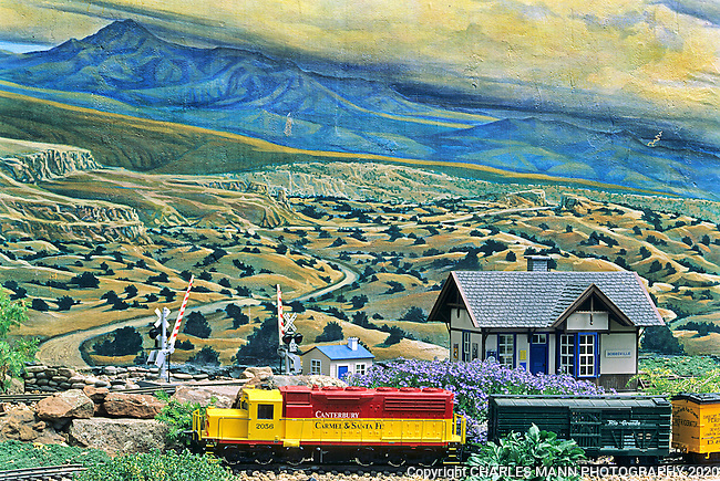 Elspeth Bobbs enhanced her model railroad garden with miniature plants and a dramatic mural that seems to blend the raised beds and real life garden with a panoramic interpretation of the southwestern landscape.