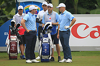 Paul Dunne and Alex Noren (Europe) on the 7th tee during the Saturday Foursomes of the Eurasia Cup at Glenmarie Golf and Country Club on the 13th January 2018.<br /> Picture:  Thos Caffrey / www.golffile.ie