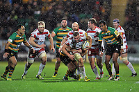 Ross Moriarty of Gloucester Rugby takes on the Northampton Saints defence. Aviva Premiership match, between Northampton Saints and Gloucester Rugby on November 27, 2015 at Franklin's Gardens in Northampton, England. Photo by: Patrick Khachfe / JMP