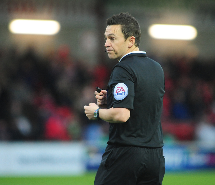 Referee Tony Harrington<br /> <br /> Photographer Chris Vaughan/CameraSport<br /> <br /> Football - The Football League Sky Bet League One - Fleetwood Town v Gillingham - Saturday 1st November 2014 - Highbury Stadium - Fleetwood<br /> <br /> &copy; CameraSport - 43 Linden Ave. Countesthorpe. Leicester. England. LE8 5PG - Tel: +44 (0) 116 277 4147 - admin@camerasport.com - www.camerasport.com