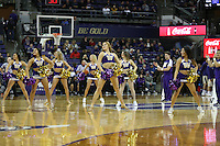 SEATTLE, WA - DECEMBER 18: Washington cheerleader Allie Bruener entertained fans during a timeout break against Western Michigan.  Washington won 92-86 over Western Michigan at Alaska Airlines Arena in Seattle, WA.