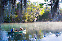 Canoers make an early morning excursion towards the warm waters of the Three Sisters Sanctuary to see manatees in their natural environment. Crystal River, Floirda. ( No MR)
