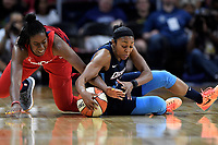 Washington, DC - June 1, 2019: Washington Mystics guard Ariel Atkins (7) fights for a lose ball during game between Atlanta Dream and Washington Mystics at the St. Elizabeths East Entertainment and Sports Arena (Photo by Phil Peters/Media Images International)