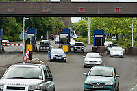 The Itchen Bridge toll collecting booths, Southampton.