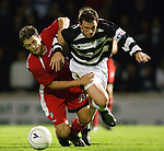 Steven McGinn fouls David Gormley