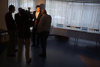 State Duma member Dmitry Gudkov speaks to the media during the kickoff party of the new 5th of December opposition political party in Moscow, Russia. Gudkov is a well-known anti-Putin activist from the political party A Just Russia.