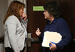 Nevada Assembly Minority Leader Marilyn Kirkpatrick, D-North Las Vegas, left, talks with Legislative Counsel Brenda Erdoes at the Legislative Building in Carson City, Nev., on Saturday, May 30, 2015. Lawmakers and staff continue to work long hours as they reach the final hours of the legislative session. (Cathleen Allison/Las Vegas Review-Journal)