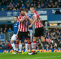 Lincoln City's Michael Bostwick, left, celebrates scoring his side's first goal with team-mate Jason Shackell<br /> <br /> Photographer Chris Vaughan/CameraSport<br /> <br /> Emirates FA Cup Third Round - Everton v Lincoln City - Saturday 5th January 2019 - Goodison Park - Liverpool<br />  <br /> World Copyright &copy; 2019 CameraSport. All rights reserved. 43 Linden Ave. Countesthorpe. Leicester. England. LE8 5PG - Tel: +44 (0) 116 277 4147 - admin@camerasport.com - www.camerasport.com