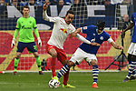 16.03.2019, VELTINS-Arena, Gelsenkirchen, GER, DFL, 1. BL, FC Schalke 04 vs RB Leipzig, DFL regulations prohibit any use of photographs as image sequences and/or quasi-video<br /> <br /> im Bild v. li. im Zweikampf Yussuf Poulsen (#9, RB Leipzig) Benjamin Stambouli (#17, FC Schalke 04) <br /> <br /> Foto © nph/Mauelshagen