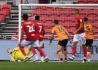 8th July 2020; Ashton Gate Stadium, Bristol, England; English Football League Championship Football, Bristol City versus Hull City; George Long of Hull City is unable to save the free kick from Jamie Paterson of Bristol City who scores in 54th minute 2-0