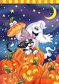 Janet, REALISTIC ANIMALS, Halloween, paintings, Surprise! Cat With Hat(USJS104,#A#)