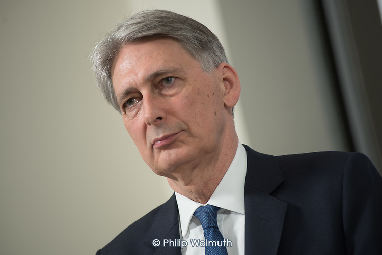 Chancellor of the Exchequer Philip Hammond.  Conservative party election press conference, Westminster, London