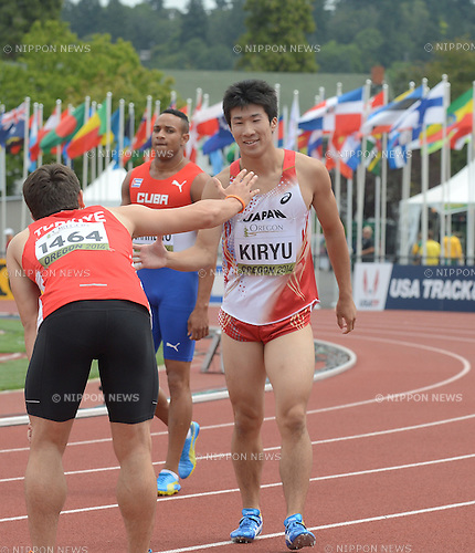 (R-L) Yoshihide Kiryu (JPN), Yaniel Carrero (CUB), Aykut Ay (TUR),<br /> JULY 22, 2014 - Athletics :<br /> IAAF World Junior Championships Men's 100m Heats at Hayward Field in Eugene, Oregon, United States. (Photo by AFLO)