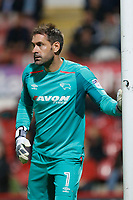 Scott Carson of Derby County seen during the Sky Bet Championship match between Brentford and Derby County at Griffin Park, London, England on 26 September 2017. Photo by Carlton Myrie / PRiME Media Images.