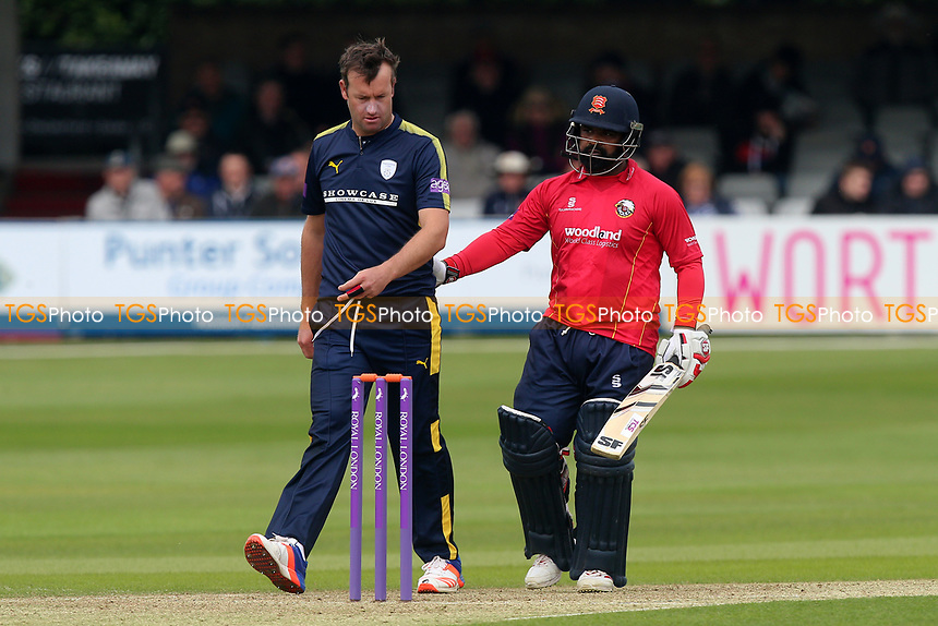 Ashar Zaidi of Essex consoles Sean Ervine during Essex Eagles vs Hampshire, Royal London One-Day Cup Cricket at The Cloudfm County Ground on 30th April 2017