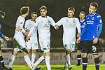 23.10.2018, Heinz-Dettmer-Stadion, Lohne, GER, FSP, SV Werder Bremen vs DSC Arminia Bielefeld<br /> <br /> DFL REGULATIONS PROHIBIT ANY USE OF PHOTOGRAPHS AS IMAGE SEQUENCES AND/OR QUASI-VIDEO.<br /> <br /> im Bild / picture shows<br /> Vorlagengeber David Philipp (Werder Bremen #31) bejubelt 2:1 Tor mit Torsch&uuml;tze Joshua Sargent (Werder Bremen #19), Fridolin Wagner (Werder Bremen #25), <br /> <br /> Foto &copy; nordphoto / Ewert
