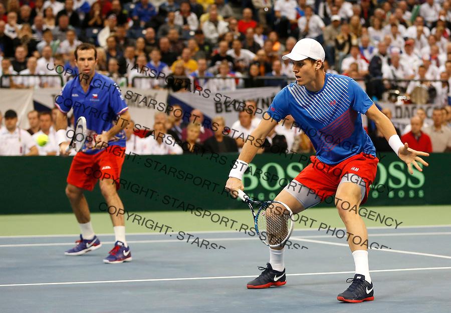 Tennis Tenis<br /> Davis Cup Final 2013<br /> Serbia v Czech Republic<br /> Nenad Zimonjic and Ilija Bozoljac v Radek Stepanek and Tomas Berdych<br /> Tomas Berdych and Radek Stepanek in action<br /> Beograd, 16.11.2013.<br /> foto: Srdjan Stevanovic/Starsportphoto &copy;