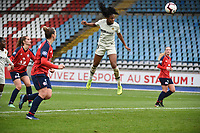 20190113 - LILLE , FRANCE : PSG's Marie Antoinette Katoto (white) scoring the opening goal pictured during women soccer game between the women teams of Lille OSC and Paris Saint Germain  during the 16 th matchday for the Championship D1 Feminines at stade Lille Metropole , Sunday 13th of January 2019,  PHOTO Dirk Vuylsteke | Sportpix.Be