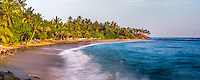 Panoramic photo of palm trees, Mirissa Beach, South Coast of Sri Lanka, Asia. This is a panoramic photo of a palm trees on Mirissa Beach, Sri Lanka, Asia. Mirissa Beach is a popular beach lined with palm trees on the South Coast of Sri Lanka.